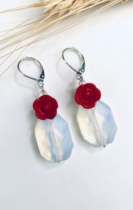 Earrings/red coral/sun Opal - L'Petri Design/Art