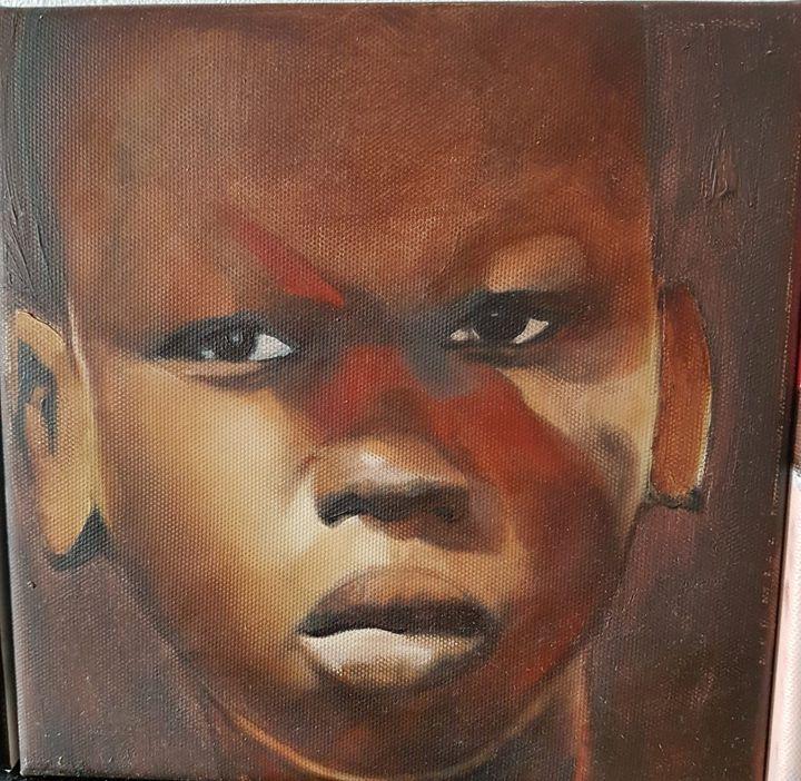 child with red stripe - Zahava Paintings