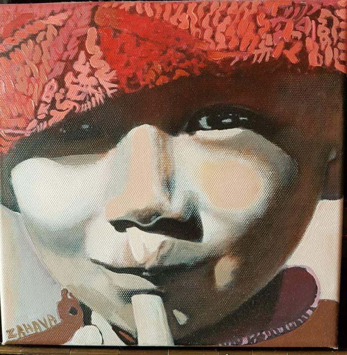 child with wool head - Zahava Paintings