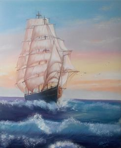 Gleaming white lone sail