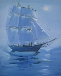Sailing ship in the fog