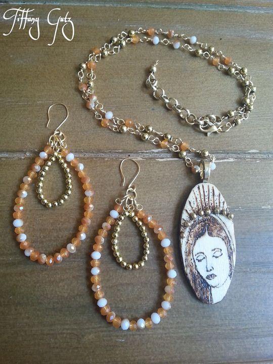 Virgin Mary Necklace & Earring Set - Tiffany Gutz