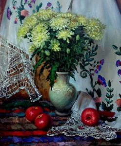 Flowers and apples . SOLD.