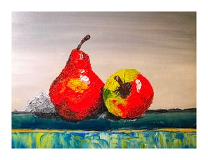 Red Pear and Apple - BlueBubbleArts