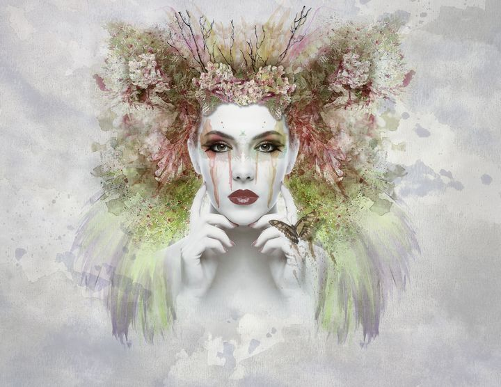 Woman with Butterfly - High quality Art