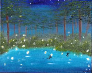 Fairy firefly pool at night