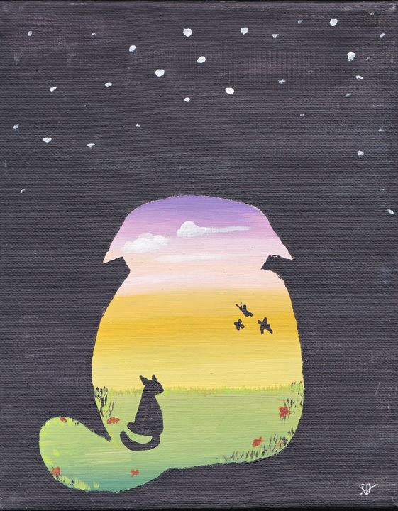 Cat and butterfly silhouette - EmmaKay's Creations