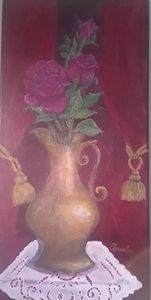Gold Pitcher with Crimson Roses