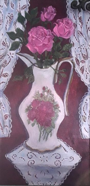 Porcelain Pitcher with Pink Roses - Ismeta's Gallery