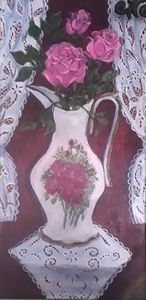 Porcelain Pitcher with Pink Roses