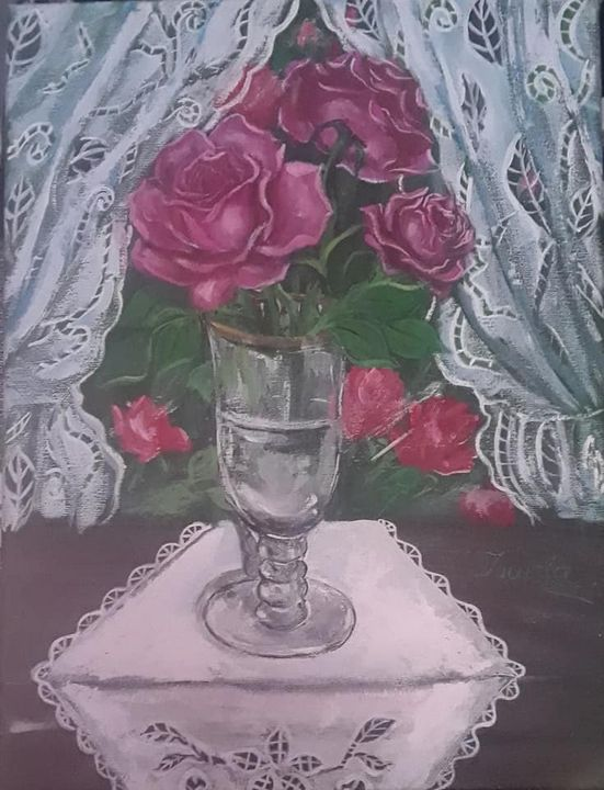 Gold Rimmed Glass with Roses - Ismeta's Gallery