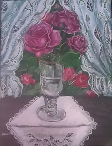Gold Rimmed Glass with Roses