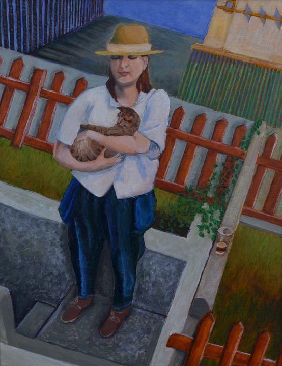 Portrait of the Artist w/Young Cat - Heather Van Doorn