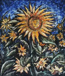 """""""Sunflowers"""" oil on canvas, 34x29 in"""