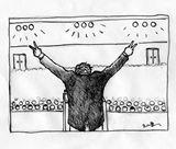 8x6 Pencil cartoon of speech