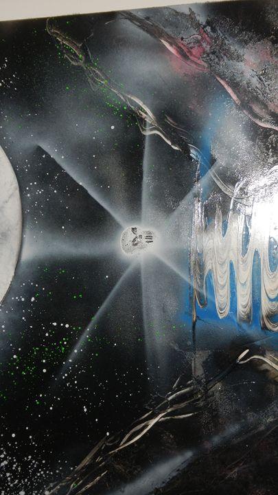 skull orb under moon lit sky - Michael wells