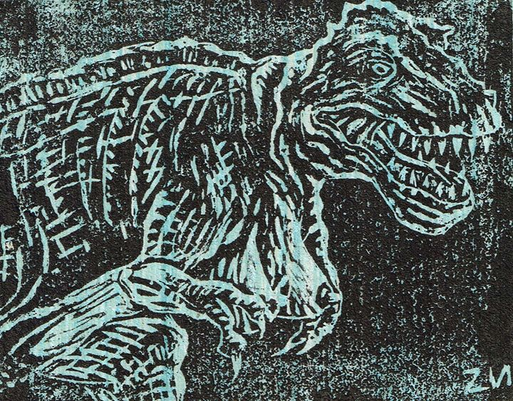 Tittysaurus Rex Linocut - Zach Nebenzahl