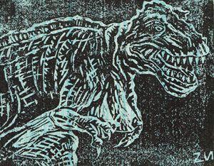 Tittysaurus Rex Linocut