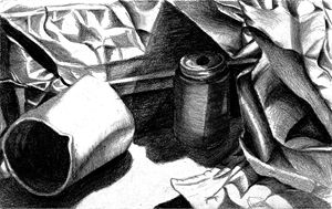 metal and paper still life