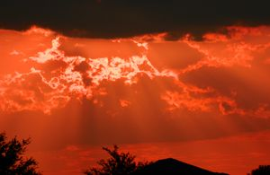 Red Evening Ocean Sky