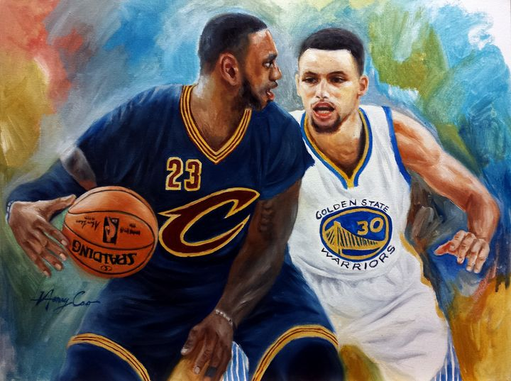 LeBron James and Stephen Curry Play - Henry Cao Gallery