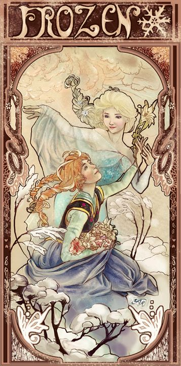 Frozen in the style of Alfonse Mucha - Yartzana Serenade Art Shop