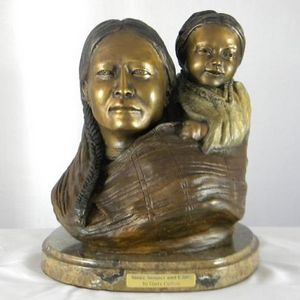 Mother and Child - Sioux - Native American Bronzes