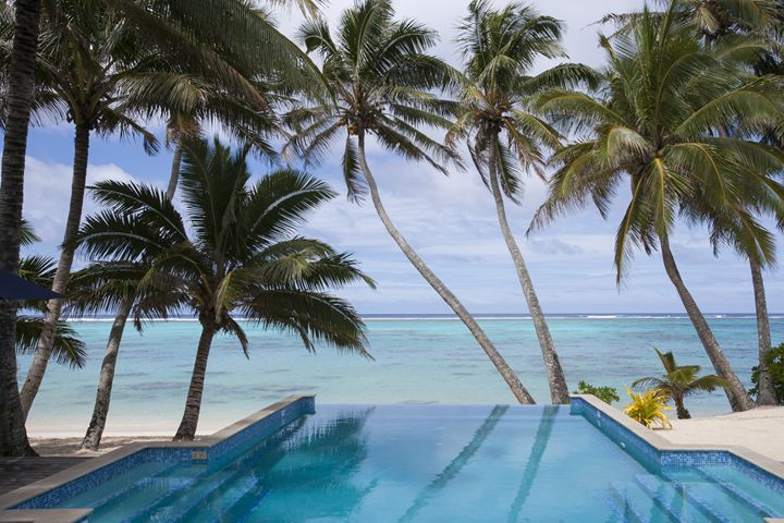 Coconut trees and a swimming pool. - Dave Thomas