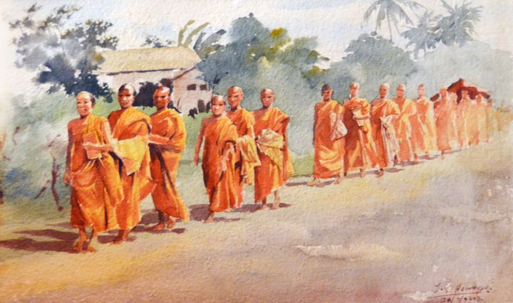 A Procession of Monks - Aartzy - Let's Talk Expressions