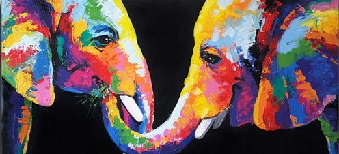 Elephants Feeding in Color - Aartzy - Let's Talk Expressions