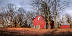 Chilly Red Barn Late Fall