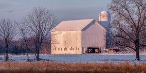 Snowy Dairy Barn