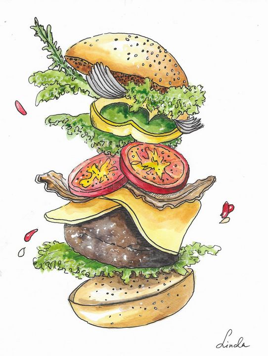 Flying humburger - Lindina Art
