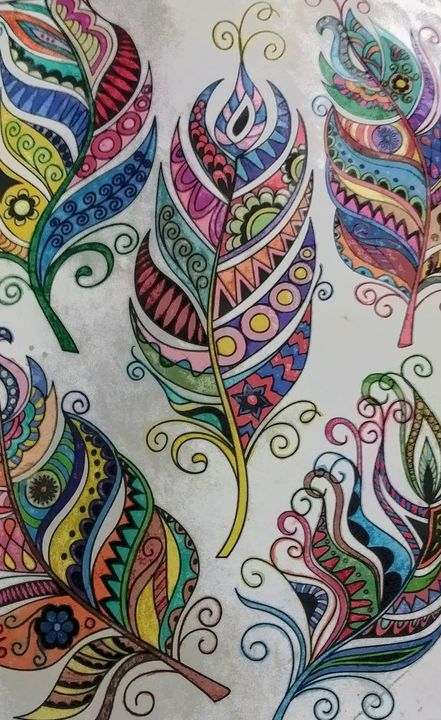 Feathers - Rebecca Loker self colored coloring pages