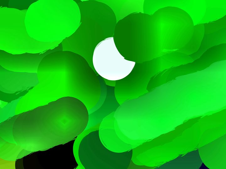 Moon Sun green - Paintings and prints