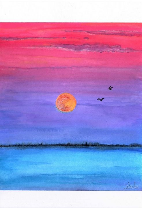 Red Moon and pink sky - Niva Art