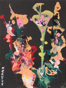 les iris jaunes et roses