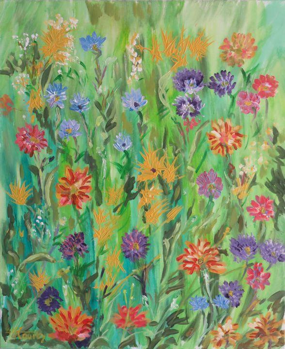 prairie fleurie - Myriam  Courty paintings
