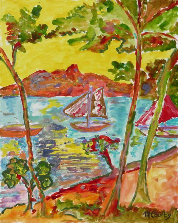 calanque dans l esterel cote azur - Myriam  Courty paintings