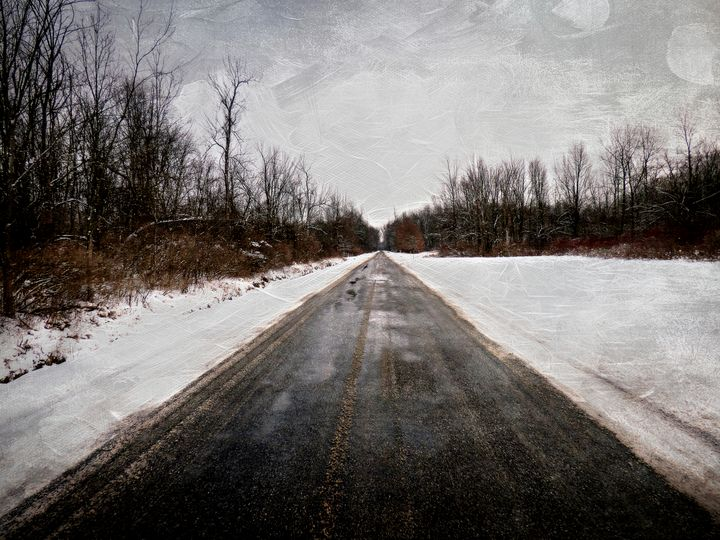 Long Snowy Country Road - Leslie Montgomery