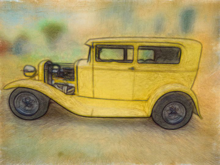 Canary Yellow Hot Rod - Leslie Montgomery