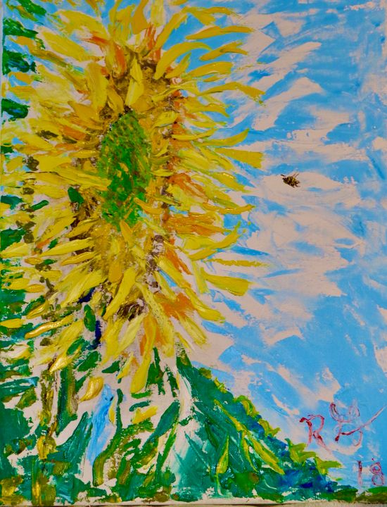 Sunflower and Bumble Bee - Richard J Grasso