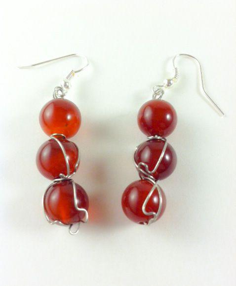 Wire Wrapped Agate Earrings - Karolejean Design