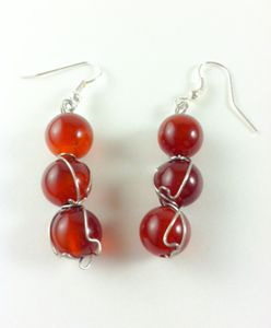 Wire Wrapped Agate Earrings