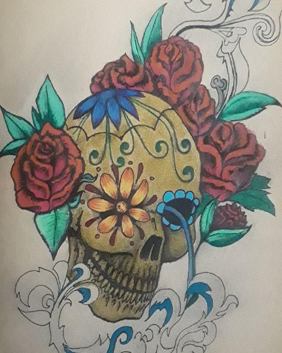 Gold n Rose Candy skull - Douglas Murdoch