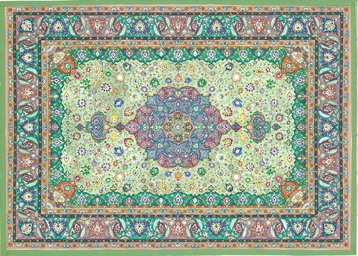 Green Tezhib Floral Art Piece - Maia Gallery