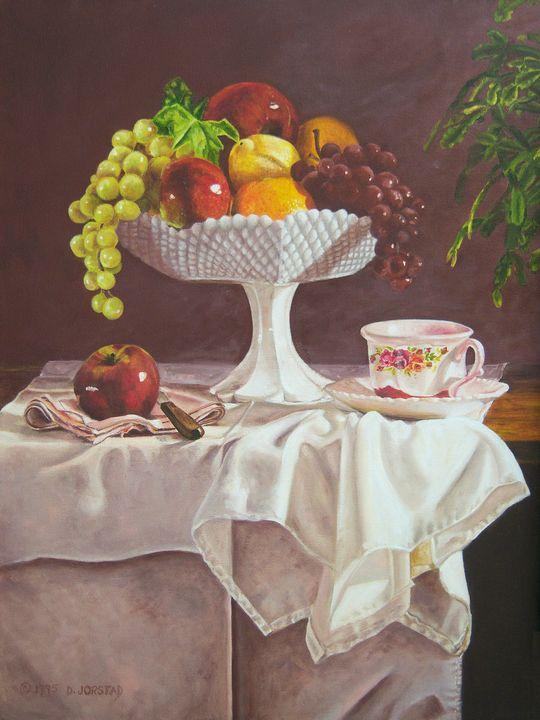 Milk Glass & Fruit  Still life - Diane Jorstad's art  studio