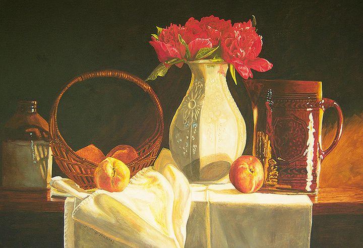 Pitcher - Pink Flower Art - Diane Jorstad's art  studio