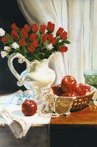 Red Silk Roses -Apples still Life