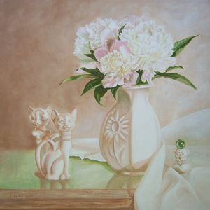 Peony and Cats oil painting wall art